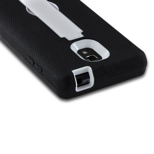 Black on White Silicone Over Hard Case w/ Stand for LG Optimus L9