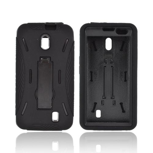 LG Spectrum Silicone Over Hard Case w/ Stand - Black