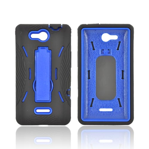 LG Lucid 4G Silicone Over Hard Case w/ Stand - Black/ Blue