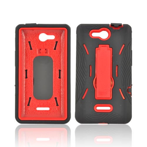 LG Lucid 4G Silicone Over Hard Case w/ Stand - Black/ Red