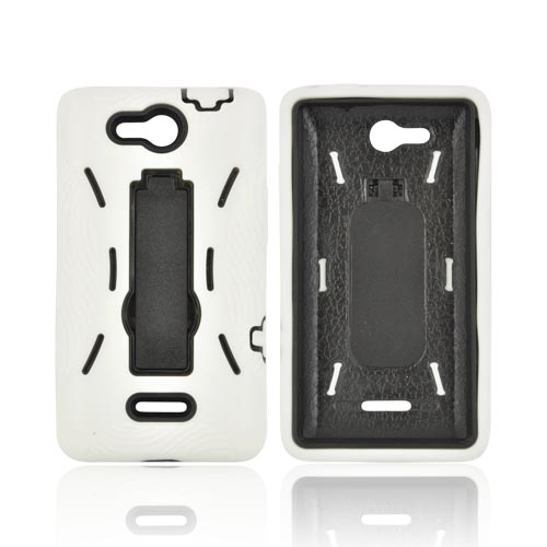 LG Lucid 4G Silicone Over Hard Case w/ Stand - White/ Black