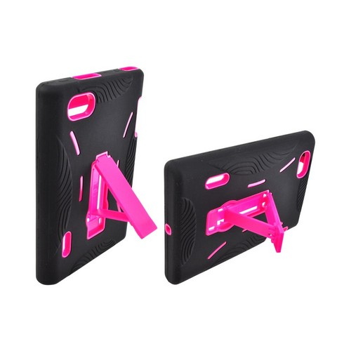 LG Intuition VS950 Silicone Over Hard Case w/ Stand - Black/ Hot Pink
