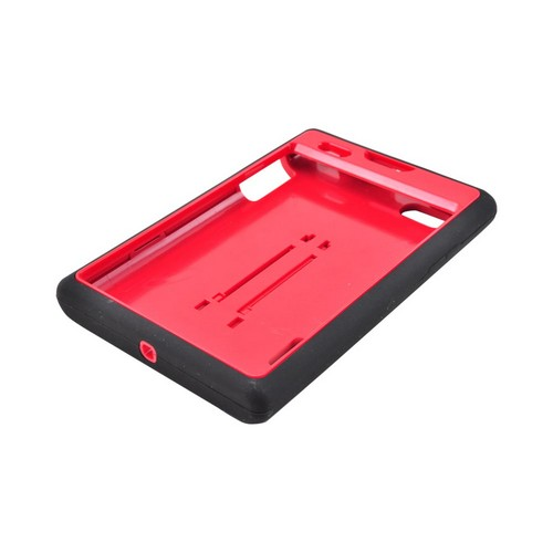 LG Intuition VS950 Silicone Over Hard Case w/ Stand - Black/ Red