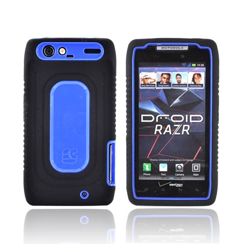 Motorola Droid RAZR Silicone Over Hard Case - Black/ Blue