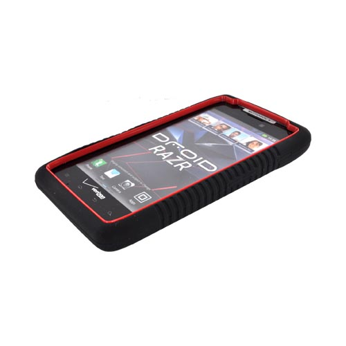 Motorola Droid RAZR Silicone Over Hard Case - Black/ Red