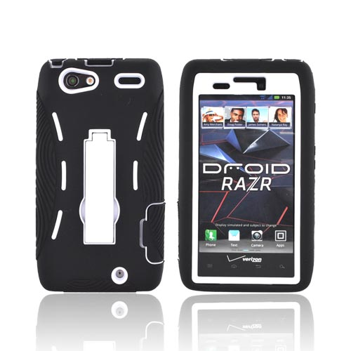Motorola Droid RAZR Silicone Over Hard Case w/ Stand - Black/ White