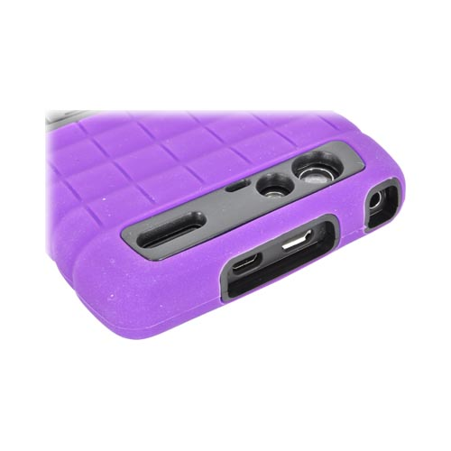 Motorola Droid RAZR MAXX Silicone Over Hard Case w/ Stand - Purple/ Black