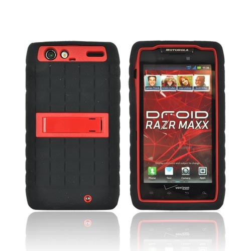 Motorola Droid RAZR MAXX Silicone Over Hard Case w/ Stand - Black/ Red