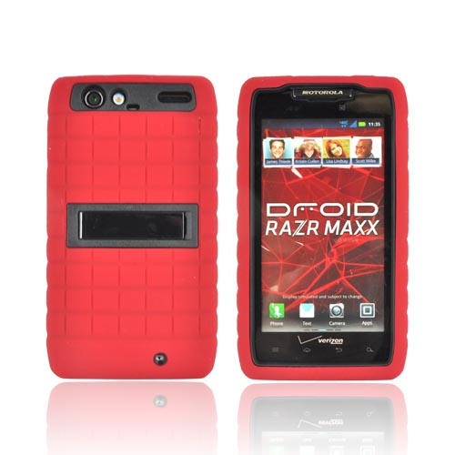 Motorola Droid RAZR MAXX Silicone Over Hard Case w/ Stand - Red/ Black