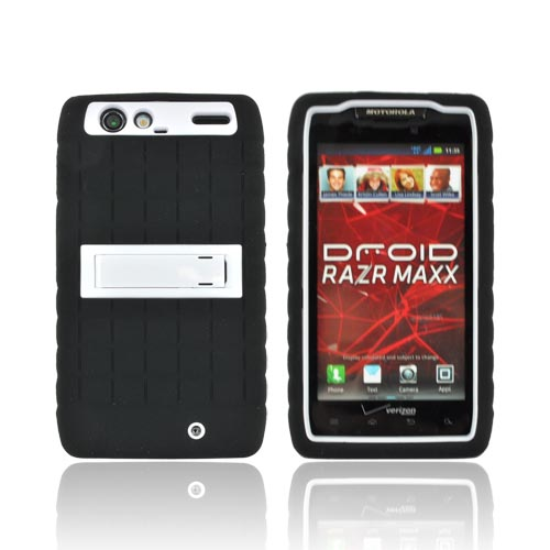 Motorola Droid RAZR MAXX Silicone Over Hard Case w/ Kickstand - White/ Black