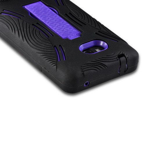 Black Silicone on Purple Hard Case w/ Kickstand for Nokia Lumia 810