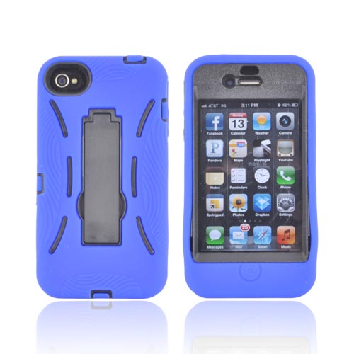 AT&T/ Verizon Apple iPhone 4, iPhone 4S Silicone Over Hard Case w/ Stand - Blue/ Black