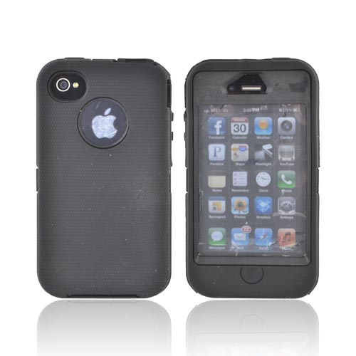 AT&T/ Verizon Apple iPhone 4, iPhone 4S Silicone Over Hard Case w/ Built-In Screen Protector - Black