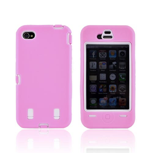 AT&T/ Verizon iPhone 4, iPhone 4 Silicone Over Hard Case - Baby Pink/ White