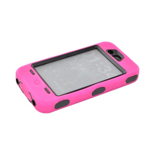 AT&T/ Verizon Apple iPhone 4, iPhone 4S Silicone Over Hard Case w/ Built-In Screen Protector - Hot Pink/ Black