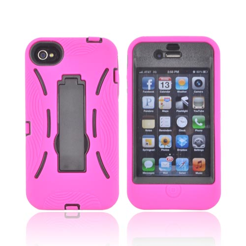 AT&T/ Verizon Apple iPhone 4, iPhone 4S Silicone Over Hard Case w/ Stand - Hot Pink/ Black