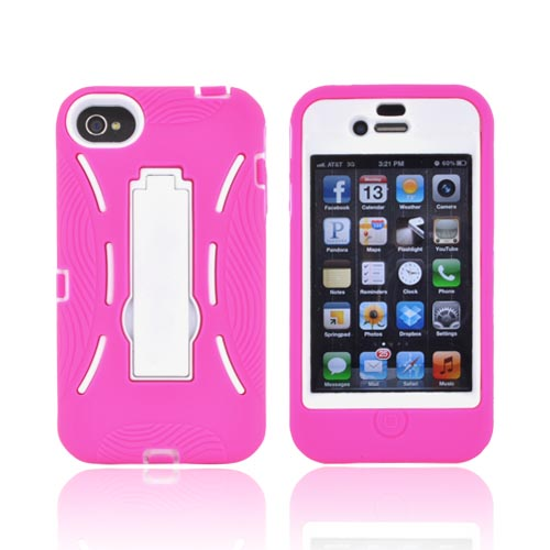 AT&T/ Verizon Apple iPhone 4, iPhone 4S Silicone Over Hard Case w/ Stand - Hot Pink/ White