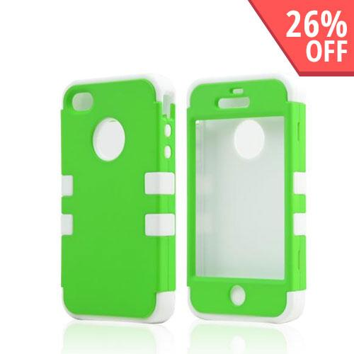 AT&T/ Verizon Apple iPhone 4, iPhone 4S Silicone Over Hard Case w/ Built-In Screen Protector - Neon Green/ Black