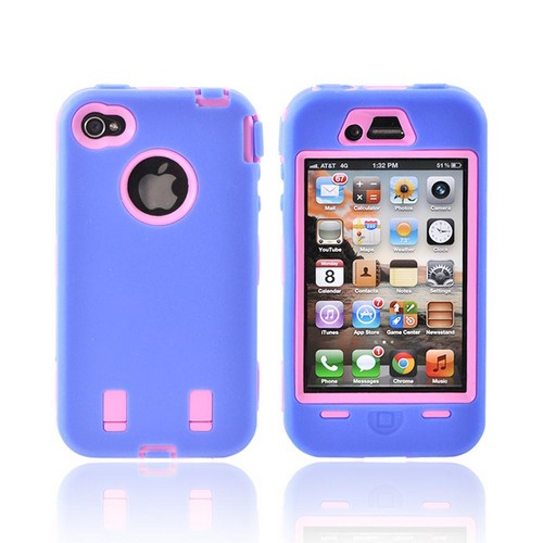 AT&T/ Verizon iPhone 4, iPhone 4 Silicone Over Hard Case - Sky Blue/ Hot Pink