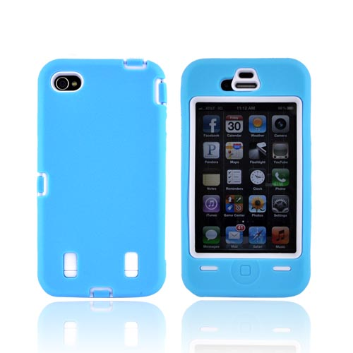 AT&T/ Verizon iPhone 4, iPhone 4 Silicone Over Hard Case - Sky Blue/ White