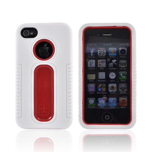 Apple iPhone 4/4S Silicone Over Hard Case - White/ Red