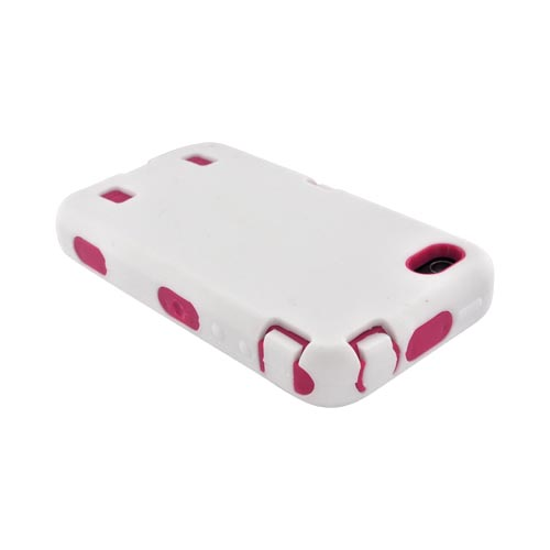 AT&T/ Verizon iPhone 4, iPhone 4 Silicone Over Hard Case - White/ Hot Pink