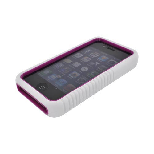 AT&T/ Verizon Apple iPhone 4/ iPhone 4S Silicone Over Hard Case - White/ Magenta