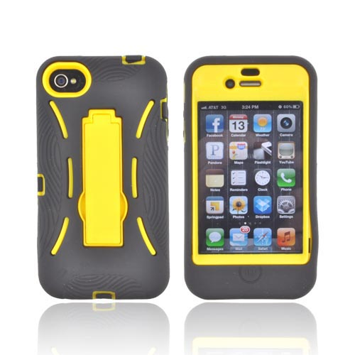 AT&T/ Verizon Apple iPhone 4, iPhone 4S Silicone Over Hard Case w/ Stand - Black/ Yellow