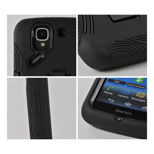 Black Silicone Over Hard Case w/ Kickstand for Pantech Flex