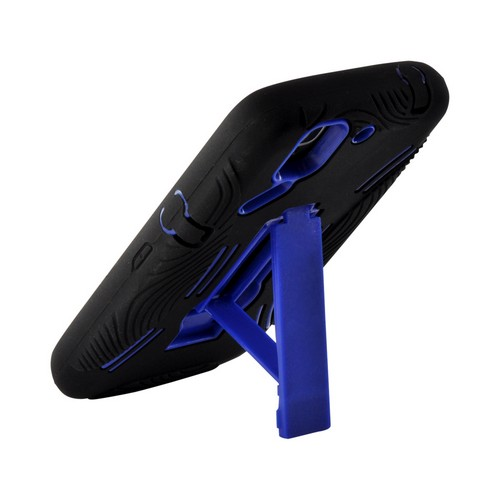 Blue/ Black Silicone Over Hard Case w/ Kickstand for Pantech Flex