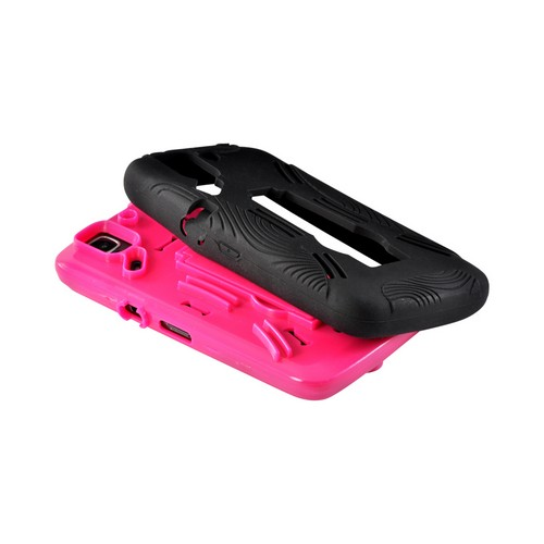 Hot Pink/ Black Silicone Over Hard Case w/ Kickstand for Pantech Flex