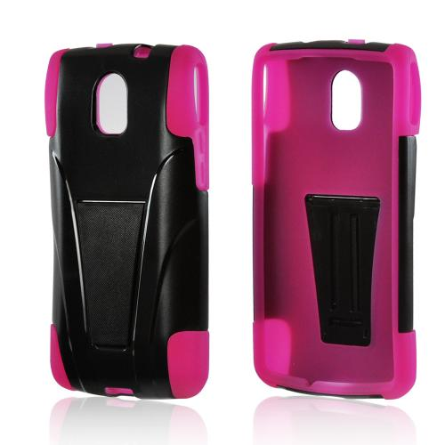 Black Hard Cover on Hot Pink Silicone Case w/ Kickstand for Pantech Discover