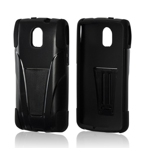 Black Hard Case on Silicone w/ Kickstand for Pantech Discover