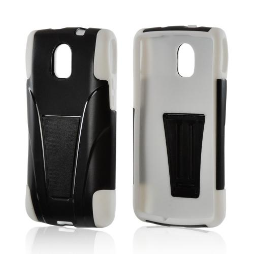 Black Hard Cover on White Silicone Case w/ Kickstand for Pantech Discover
