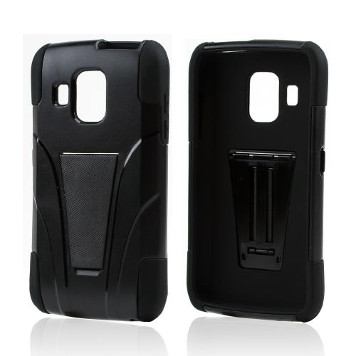 Black Hard Case Over Black Silicone w/ Kickstand for Pantech Perception