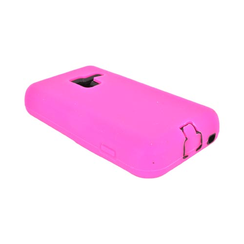 Samsung Conquer 4G Silicone Over Hard Case - Hot Pink/ Black