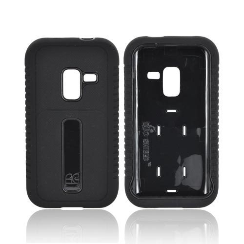 Samsung Conquer 4G Silicone Over Hard Case w/ Screen Protector - Black