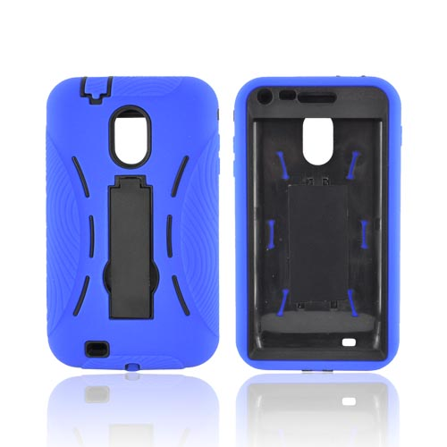 Samsung Epic 4G Touch Silicone Over Hard Case w/ Stand - Blue/ Black