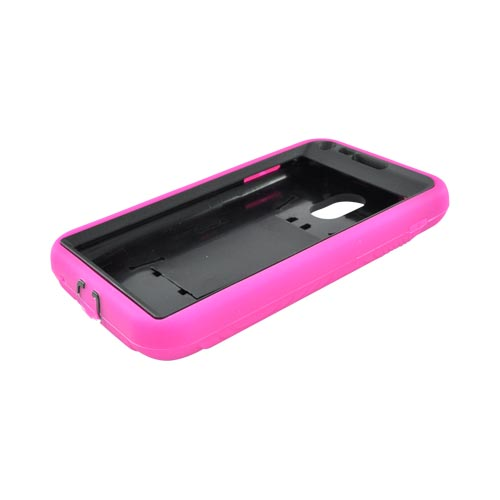 Samsung Epic 4G Touch Silicone Over Hard Case w/ Stand - Hot Pink/ Black