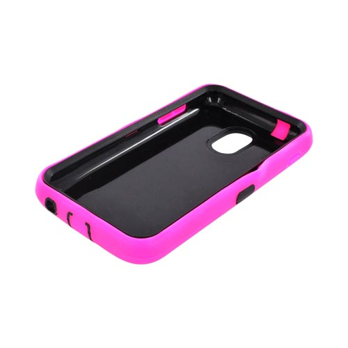 Samsung Epic 4G Touch Silicone Over Hard Case - Hot Pink/ Black