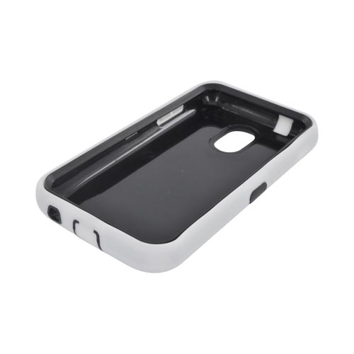 Samsung Epic 4G Touch Silicone Over Hard Case - Solid White/ Black