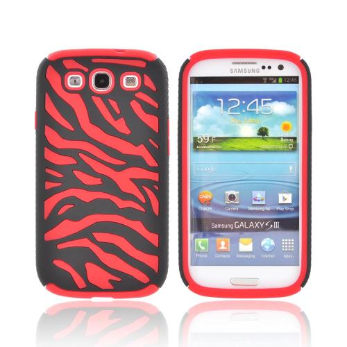 Samsung Galaxy S3 Zebra Shell on Silicone Case - Black/ Red Zebra
