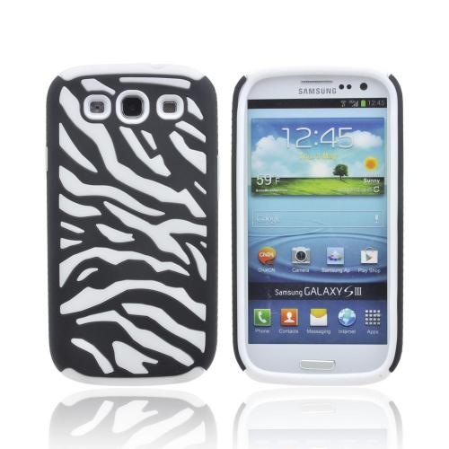 Samsung Galaxy S3 Zebra Shell on Silicone Case - Black/ White Zebra