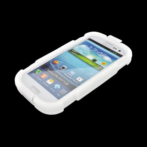 Samsung Galaxy S3 Silicone Over Hard Case w/ Detachable Stand & Belt Clip - White