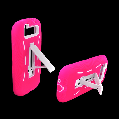 Samsung Galaxy S3 Silicone Over Hard Case w/ Kickstand - Black/ Pink