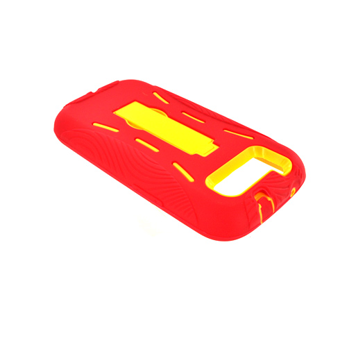 Samsung Galaxy S3 Silicone Over Hard Case w/ Kickstand - Red/ Yellow