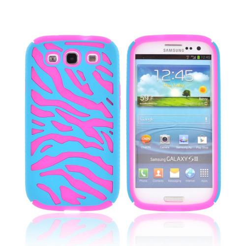 Samsung Galaxy S3 Zebra Shell on Silicone Case - Turquoise/ Hot Pink Zebra