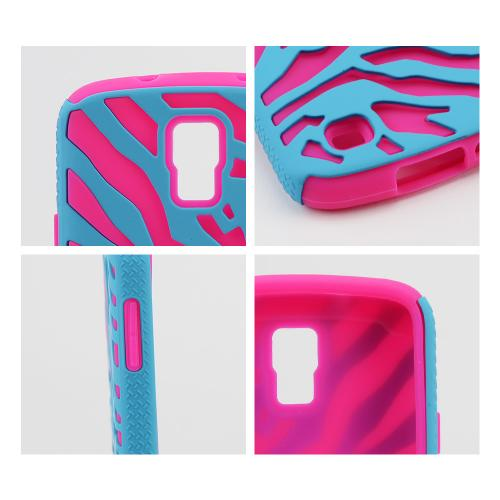 Turquoise Zebra Shell on Hot Pink Silicone Skin case for Samsung Galaxy S4 Active