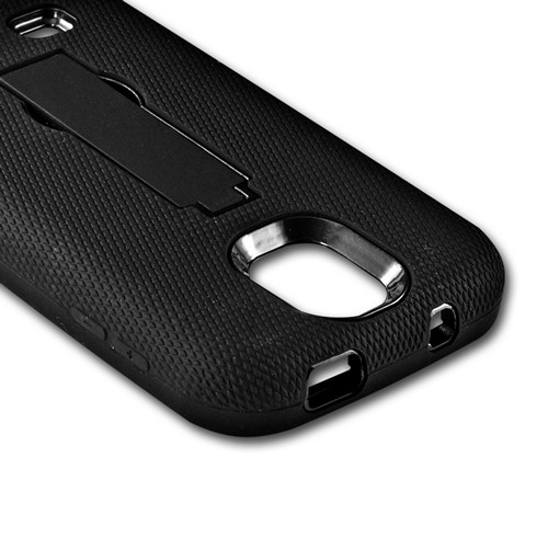 Black Silicone Over Black Hard Case w/ Kickstand for Samsung Galaxy S4