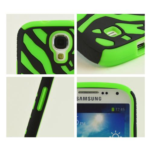 Black Zebra Hard Shell on Neon Green Silicone Case for Samsung Galaxy S4